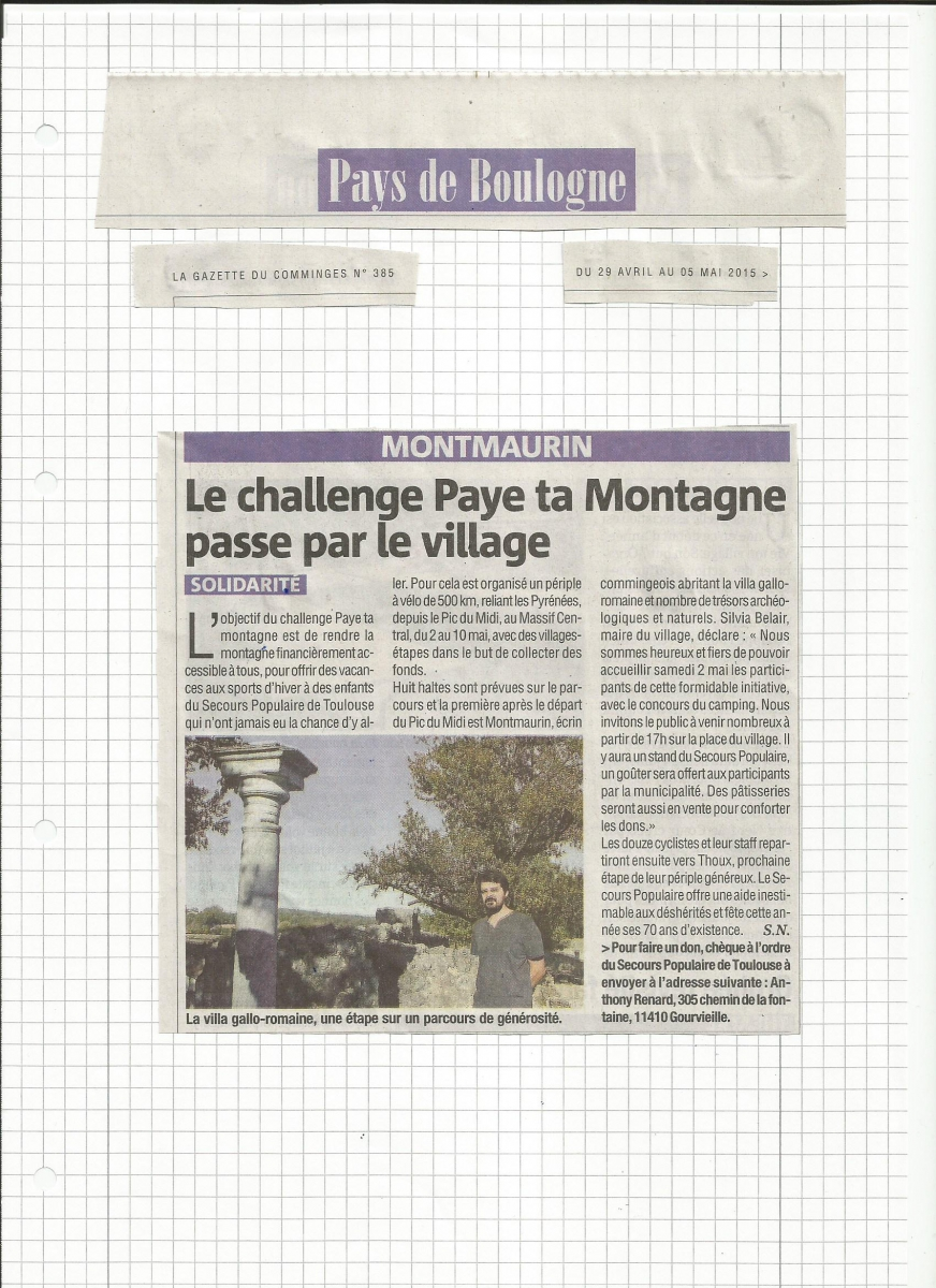 MONTMAURIN PayeTaMontagne La Gazette du Comminges avril 2015